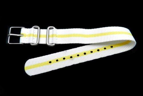 Timex Ladies Weekender White With Yellow Stripe Nylon Nato Style 16mm Watch Strap
