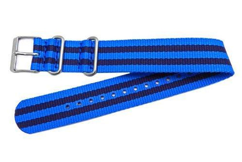 Timex Weekender Blue With Navy Blue Stripe Nylon Nato Style 20mm Watch Strap