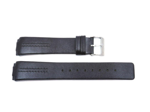 Skagen Style Black Leather 20mm Watch Band with Black Stitching - Installs with screws