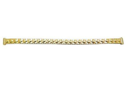 Bandino Ladies Petite Polished Gold Tone Heart Detail 8-10mm Expansion Watch Band