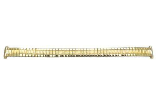 Bandino Ladies Polished Gold Tone Ridged Design 9-14mm Expansion Watch Band