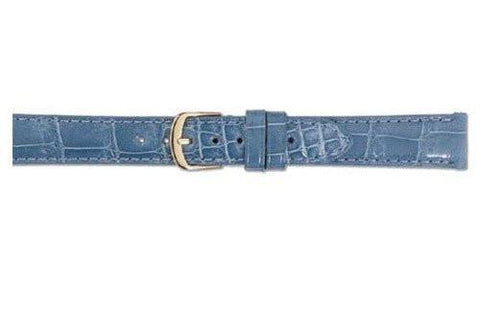 Hadley Roma Light Blue Genuine Shiny Alligator Ladies Watch Strap