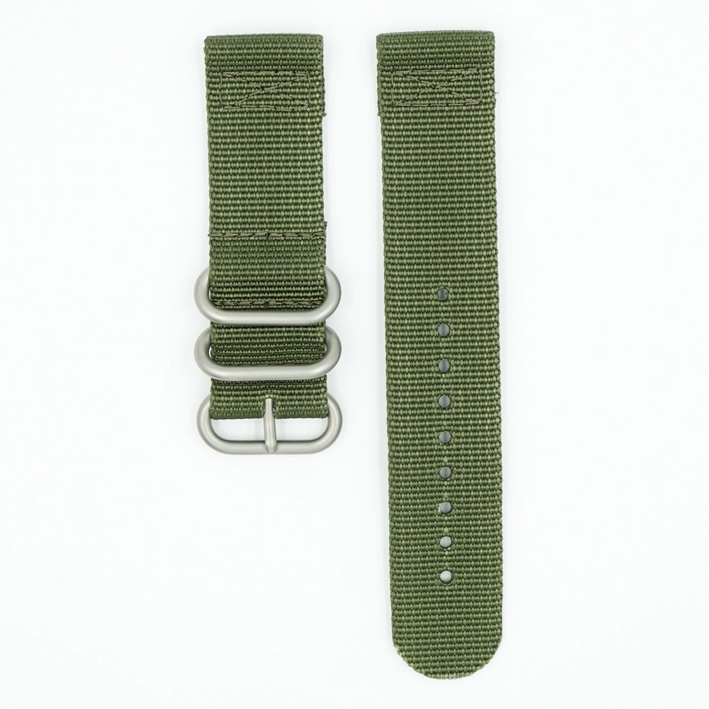 Two Piece Ballistic Nylon Watch Strap - Olive