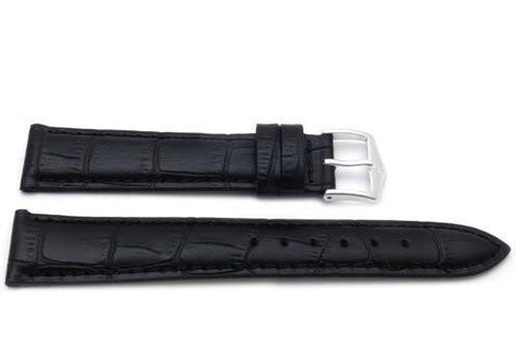 Genuine Textured Leather Alligator Grain Anti-Allergic Black Watch Band