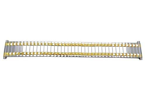 Bandino Polished Dual Tone Pointy Rail Design 18-23mm Expansion Watch Band
