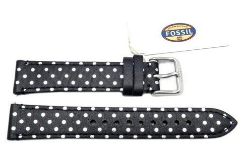 Fossil Black Genuine Leather Polka Dot Design 18mm Watch Strap