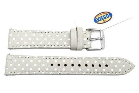 Fossil Light Gray Genuine Leather Polka Dot Design 18mm Watch Strap