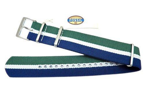 Genuine Fossil Stripe Blue, White, and Green Long Nylon 22mm Watch Strap