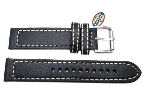 Fossil Defender Series Black Genuine Leather 20mm Watch Band