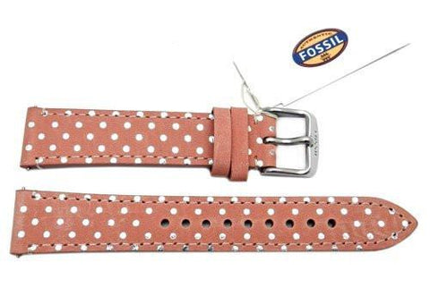 Fossil Pastel Pink Genuine Leather Polka Dot Design 18mm Watch Strap