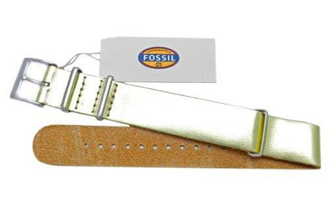 Fossil Metallic Gold Genuine Leather 18mm Watch Strap