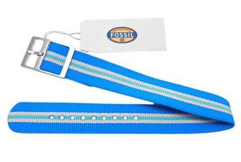 Genuine Fossil Stripe Light Blue, Light Pink, and Light Green Polyester 18mm Watch Strap
