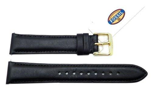 Fossil Black Genuine Leather 18mm Watch Strap