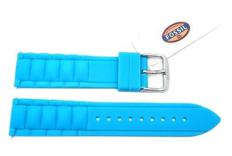 Fossil Tidal Blue Silicone Link Style 18mm Watch Band