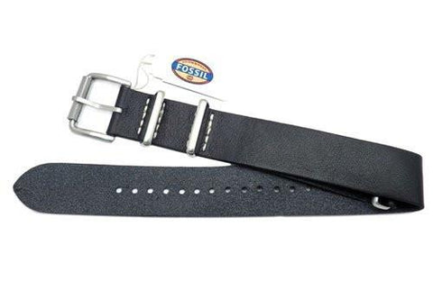 Fossil Defender Series Black Leather 20mm Watch Strap