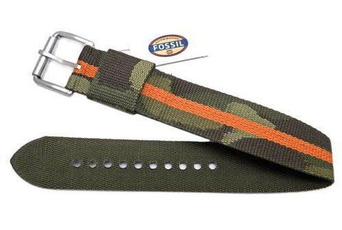 Fossil Defender Series Camo With Orange Stripe Nylon 20mm Watch Strap