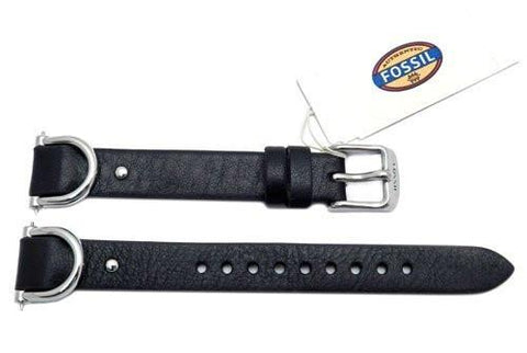Fossil Black Smooth Leather Biker Style 18mm Watch Strap