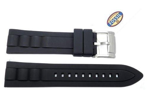 Fossil Black Silicone 22mm Watch Strap