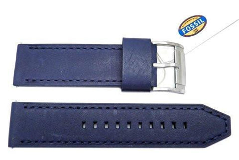 Fossil Blue Genuine Leather 24mm Watch Band