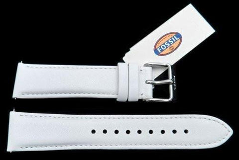 Fossil White Genuine Leather 20mm Watch Strap