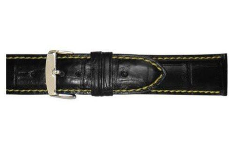 Hadley Roma Black with Yellow Stitching Heavy Pad Alligator Grain Watch Band