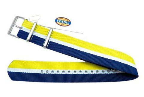 Genuine Fossil Stripe Blue, White, And Yellow Nylon 22mm Watch Strap