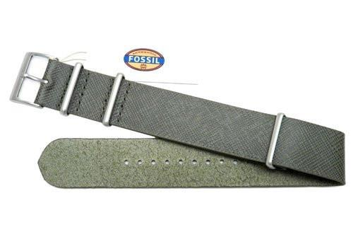 Fossil Olive Saffiano Series Leather 22mm Watch Strap
