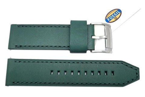 Fossil Green Smooth Leather 24mm Thick Watch Strap