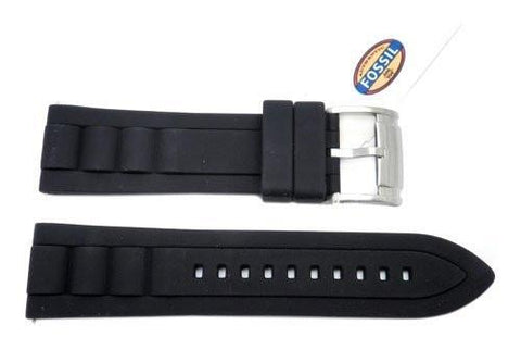 Fossil Black Silicone 24mm Watch Strap