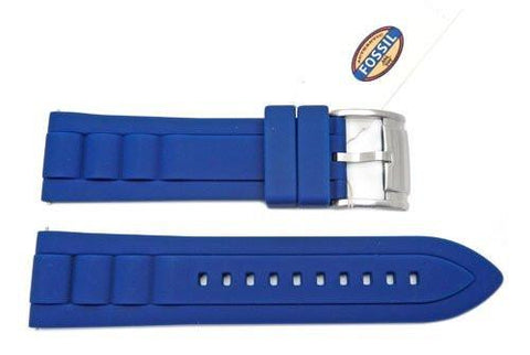 Fossil Blue Silicone Link Style 24mm Watch Band