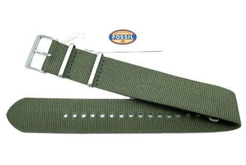 Genuine Fossil Green Nylon 22mm Watch Strap