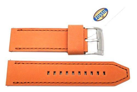 Fossil Orange Genuine Leather 24mm Watch Strap