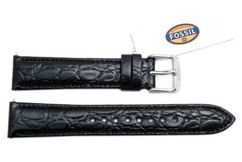 Fossil Genuine Black Embossed Leather Crocodile Grain 18mm Watch Strap