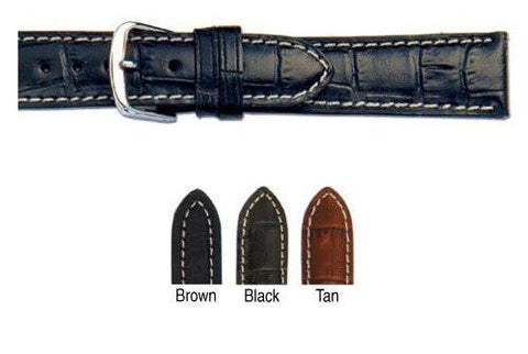 Hadley Roma Genuine Italian Calfskin Alligator Grain Contrast Stitching Watch Band