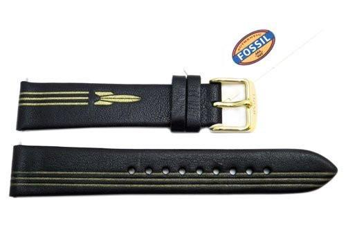 Fossil Black Genuine Leather Rocket Design 18mm Watch Strap