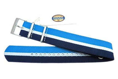 Genuine Fossil Stripe Blue, White, and Light Blue Polyester 22mm Watch Strap