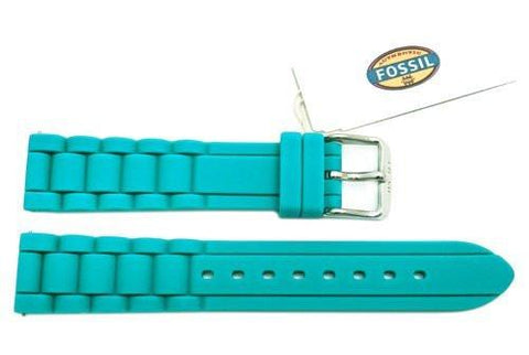 Fossil Teal Silicone Link Style 18mm Watch Band