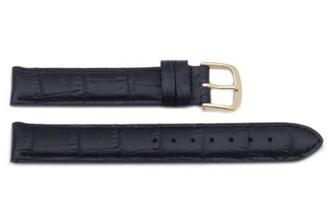 Hadley Roma Alligator Grain Black Italian Calfskin Long Watch Band