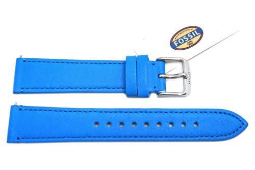 Fossil Blue Genuine Leather 18mm Watch Strap