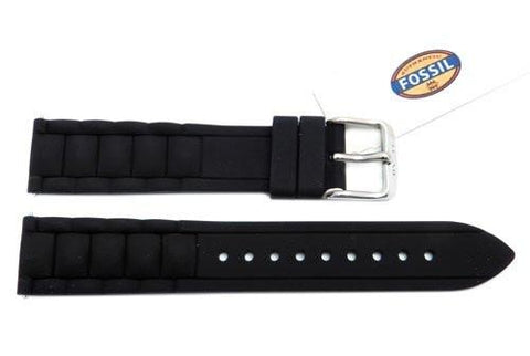 Fossil Black Silicone Link Style 18mm Watch Band
