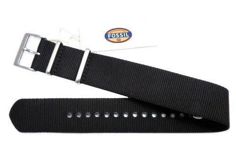 Genuine Fossil Black Nylon 22mm Watch Strap