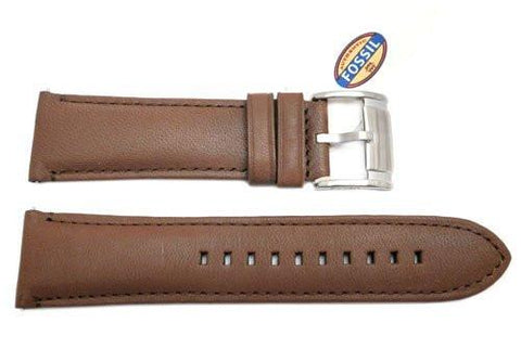 Fossil Brown Genuine Smooth Leather 24mm Watch Strap