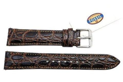 Fossil Genuine Brown Embossed Leather Crocodile Grain 18mm Watch Strap