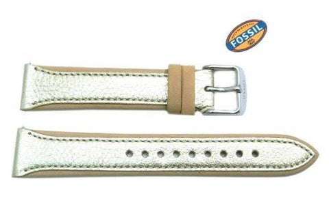 Fossil Gold Metallic Genuine Leather 18mm Watch Strap