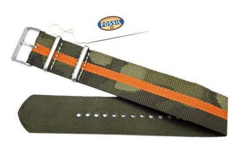 Genuine Fossil Camo And Orange Stripe Polyester 22mm Watch Strap