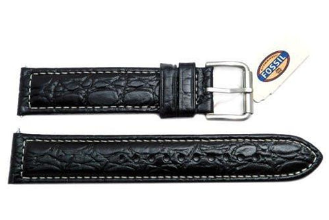Fossil Defender Series Black Crocodile Embossed Genuine Leather 20mm Watch Band