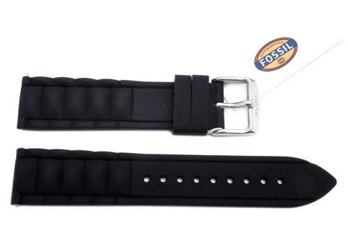 Fossil Black Silicone Link Style 20mm Watch Band
