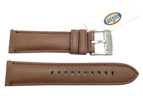 Fossil Brown Genuine Smooth Leather 22mm Watch Strap