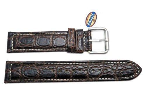 Fossil Defender Series Brown Crocodile Embossed Genuine Leather 20mm Watch Band