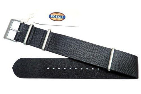 Fossil Black Saffiano Series Leather 22mm Watch Strap